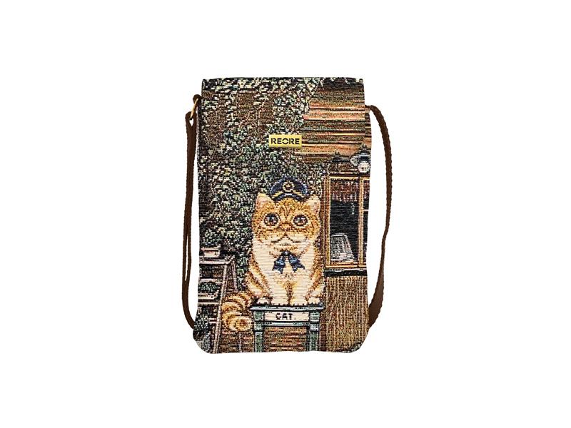 緹花織畫手機袋 咖啡貓店長 咖啡 Image