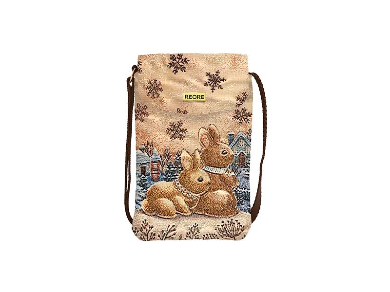 緹花織畫手機袋 極光霜兔 咖啡 Image